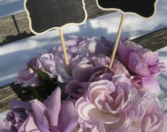 Rustic CHALKBOARD Fancy Tag Cake Topper. Set Of Two. You CHOOSE The COLORS. Custom Orders Welcome.