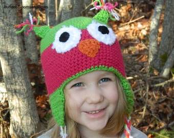 Girls Pink and Green Owl Earflap Hat/ Made to order in size infant to adult