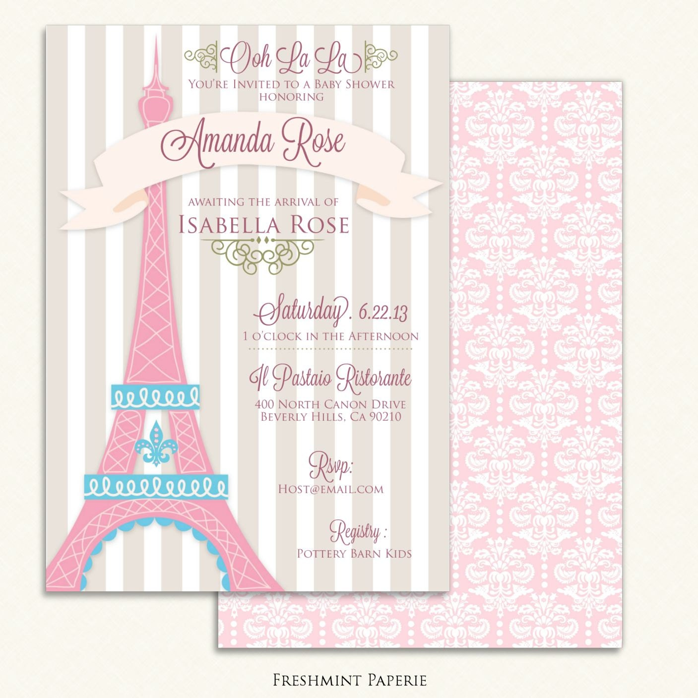 Printable invitations baby shower invitation parisian