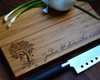 "Personalized Cutting Board ""Heart Tree""  Bamboo Wood for Wedding or Anniversary gift"