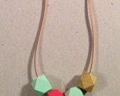 boho necklace / 21mm wood beads / hand painted / mint green / bright red / gold / leather