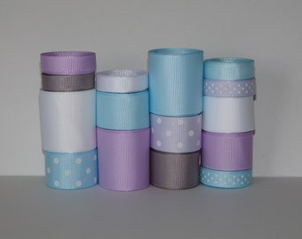 """Winter Grosgrain Ribbon Lot (Choose 1 or 2 yards EACH of 16 different ribbons: 3/8, 7/8 and 1.5"""" Solids and Dots)"""