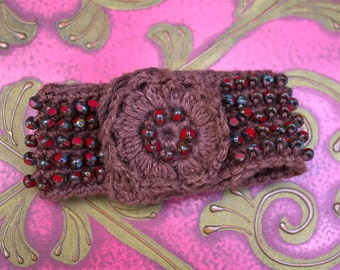 Crochet Cuff Bracelet, Red Beadwork, Hippie Boho Chic, Crochet Bead Bracelet, Brown Thread Crochet