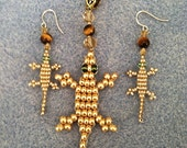 """THE GOLD STANDARD - Metallic Gold """"Lucky Lizard"""" Jewelry Set with Sterling SIlver Hanging Earrings & Matching Pendant on A Gold Tone Bail"""