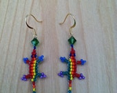 """PLAYFUL GAMES - Gold Plated """"Lucky Lizard"""" Hanging Beaded Earrings w/ Vertical Rainbow Stripes -Handcrafted to Enhance Wellness"""