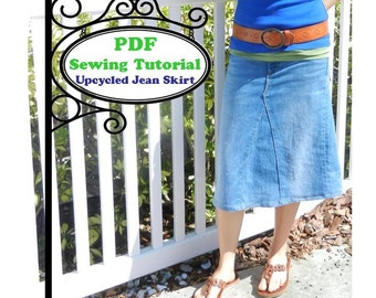 Upcycled Jean Skirt -- PDF Sewing Tutorial