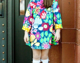 Custom Girls Dress- Girls Long Sleeve Dress- Boutique Girls Clothes- Modern Dress- Hattie- Brownie Goose- Size 6 to 12 year- the dottedduck