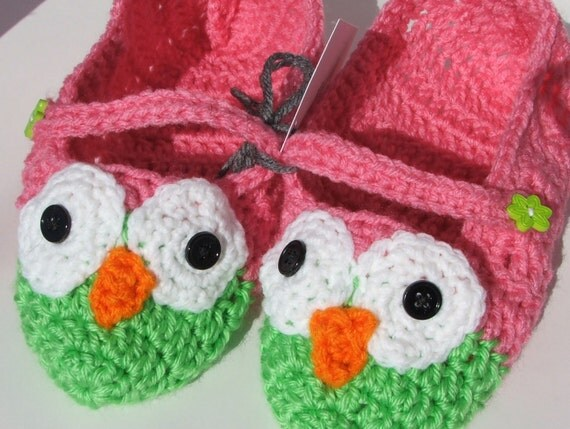 Crochet Owl Slippers. slipper. socks. owl. ladies size by ...