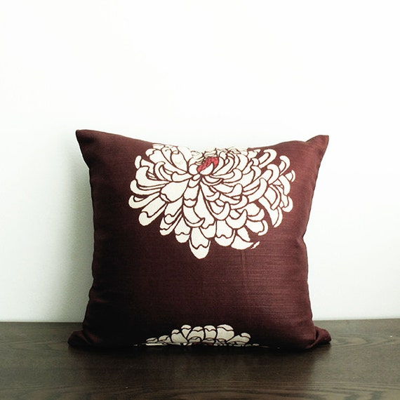 Burgundy Floral Throw Pillows : 16x16 Burgundy / White Floral Throw Pillow Cover