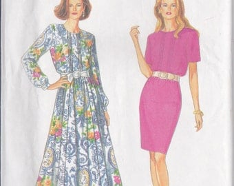 Simplicity 8842 CLEARANCE  Vintage Pattern Womens Dress With Straight or Flared Skirt Size 8,10,12,14,16,18 UNCUT