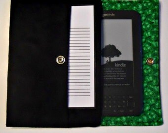 iPad Mini, Kindle, Nook, Kobo, Sony Reader, Samsung Galaxy, Small eReader Padded Case (READY TO SHIP) - Black Suede