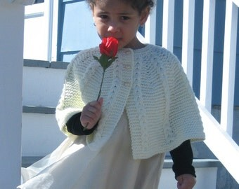 PATTERN for Knitted Child's Cabled Cape.  Instant download of PDF.