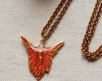 Art Nouveau Carmine Red Enamel Butterfly Fairy Vintage Findings Small Pendant Necklace
