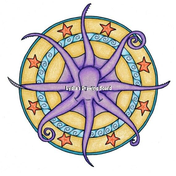 Octopus, Octopus Print, Octopus Art, Mandala, Mandala Art, Beach House Art, Sea Creatures, Ocean Animals, Whimsical Art, Mandala Wall Art