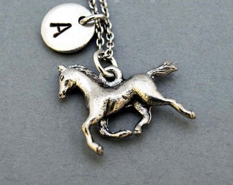 Running Horse necklace, horse necklace, horse charm, initial necklace, initial hand stamped, personalized, antique silver, monogram