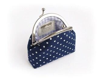Navy Blue Coin Purse, Polka Dot Kisslock Wallet, Made to order