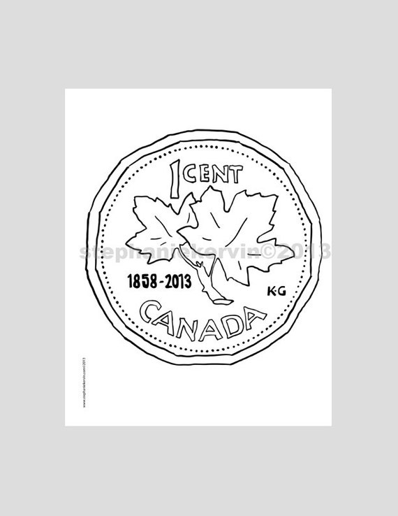 Items similar to PDF Colouring Book Single Page. Canadian Penny ...