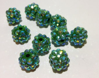10 - 12mm Green Resin Rhinestone Shambhala Basketball Wives Beads