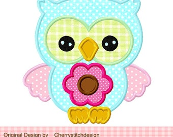 Flower owl Machine Embroidery Applique Design -4x4 5x5 6x6""