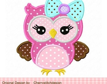 Cute girly owl with bow,owl Digital Applique Design -4x4 5x5 6x6 inch-Machine Embroidery Applique Design