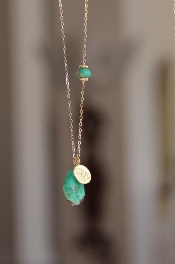 chrysoprase pendant necklace yoga lotus flower gemstone long. Black Bedroom Furniture Sets. Home Design Ideas