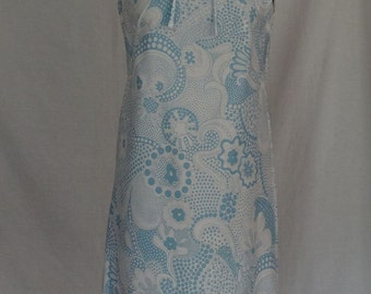 DRESS SALE!!!  1960s Dress / Light Blue & White Abtract MOD Mini Scooter Sundress / City Scene