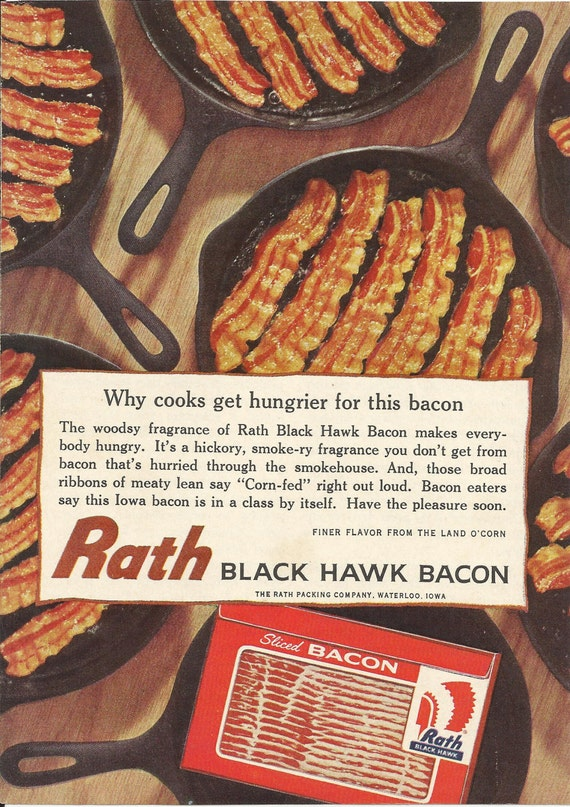Rath Black Hawk Bacon Original 1962 Vintage Print Ad Color