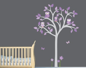 Girl Room Wall Decal, Girl Owl tree decal, Owl Tree Decal, Purple Nursery Decor, Lauren Design