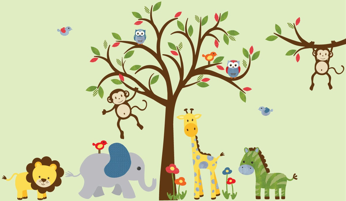 Boy room wall decal kids room wall decal safari wall decal for Animal wall mural