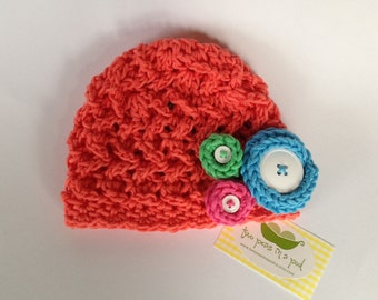 Baby Hat - Crocheted Baby Hat - Hat - Baby Girl Hat - Photo Prop - Girl Hat - Knit Hat