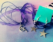 Dark Purple Silver Faerie and Stars Necklace Set