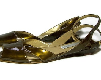Vintage Sandals Metallic Green Patent Leather 6.5