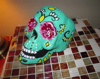 Day of the Dead Hand Painted/Halloween/.Turquoise Sugar Skull Sculptures with Roses