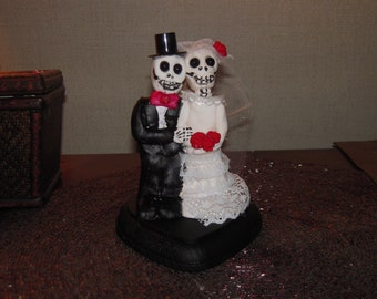 Day of the Dead/Skeleton, Zombie Wedding Cake Topper Clay Skeletons/ Custom Day of the Dead Wedding cake topper