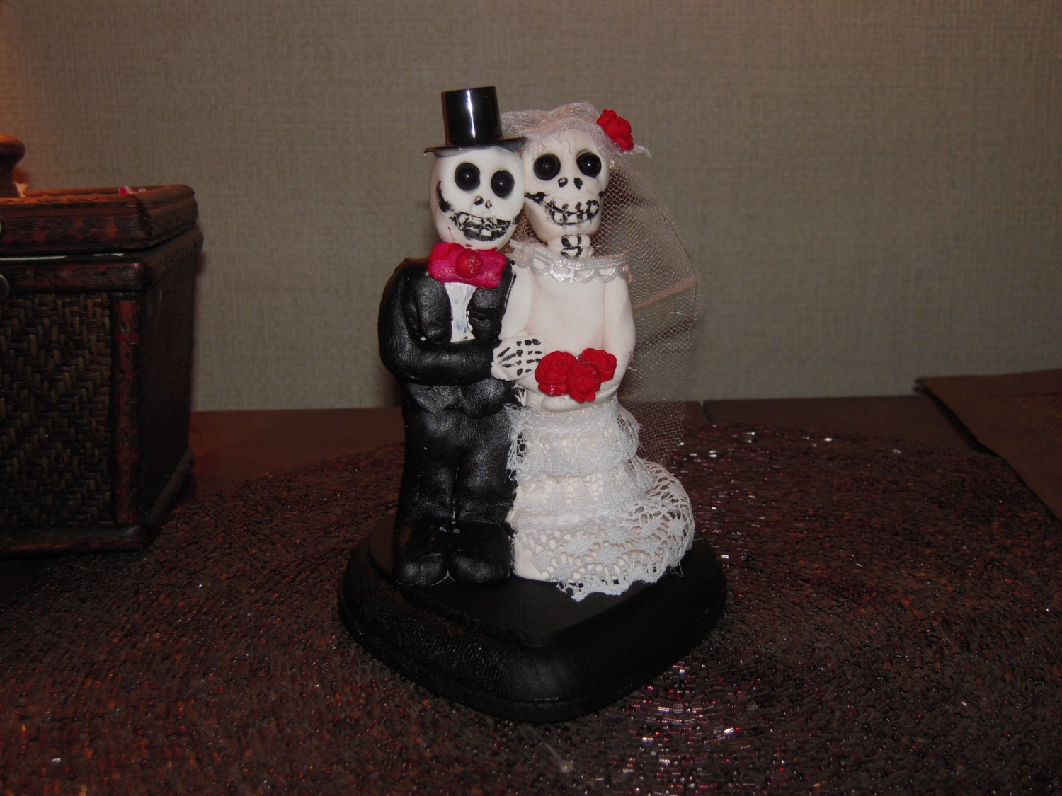 day of the dead skeleton zombie wedding cake topper clay