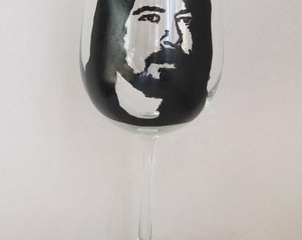 Hand Painted Wine Glass - DAVID GROHL - Foo Fighters Front Man