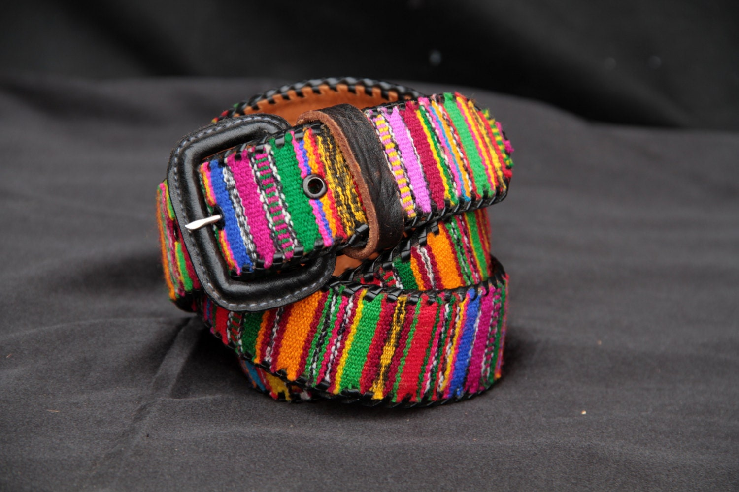 vintage colorful mexican striped leather belt