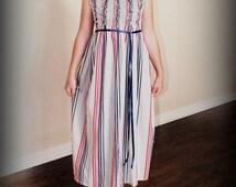 Vintage Stripe Smocked Maxi Sundress; Steady As She Goes custom red mint navy blue girls 2T 3T 4 5 6 7 8 10 12 retro 60s beach halter apron