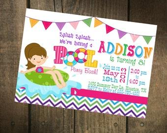 Pool Party Printable Birthday Invitation