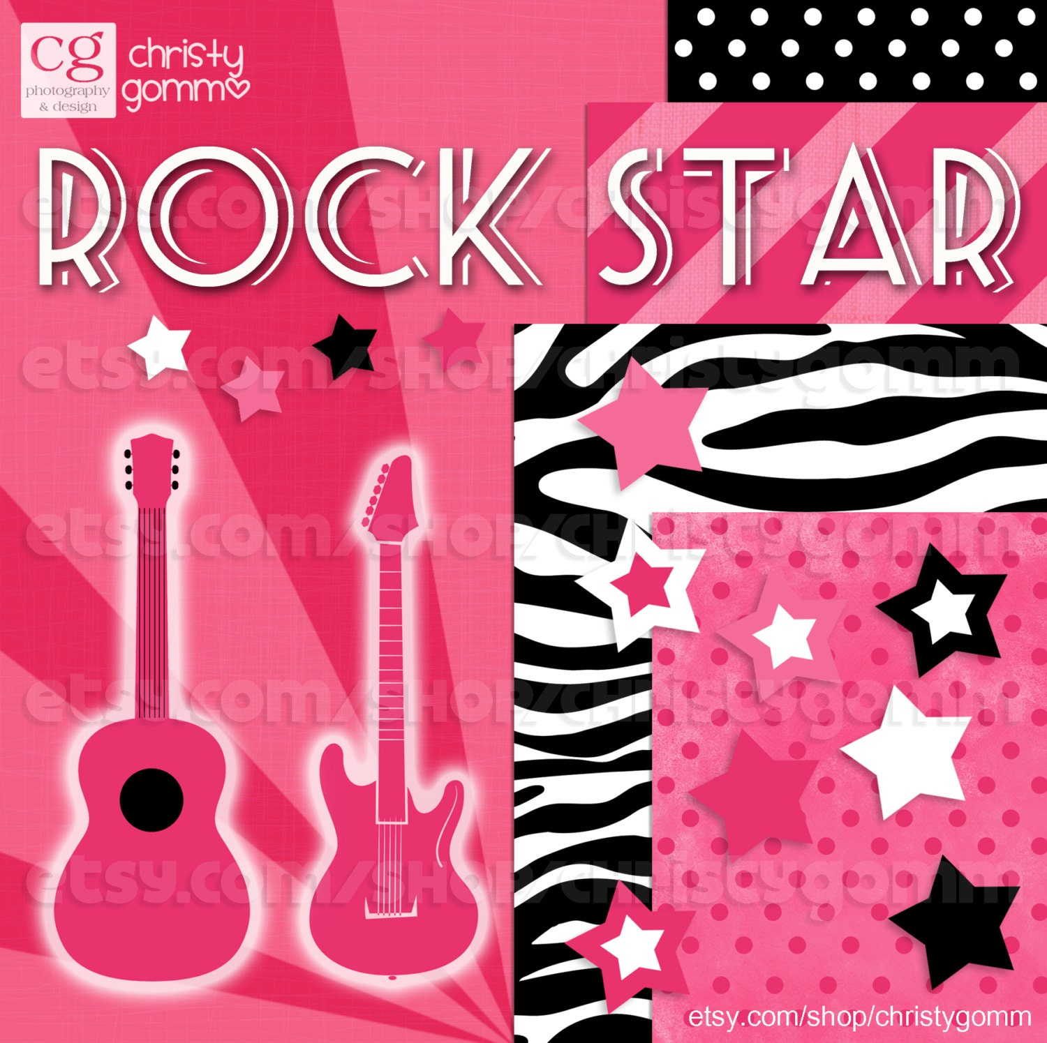 Rock Star Clip Art Instant Download Pink Zebra by christygomm