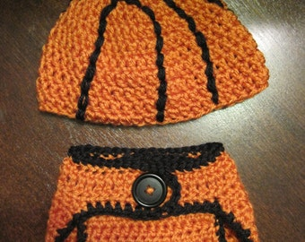 Baby Basketball Beanie and Diaper Cover Set - FT027