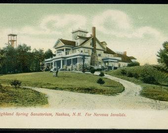 HIGHLAND SPRING Sanatorium Nashua, NH Used Undivided Back Litho Postcard 1906