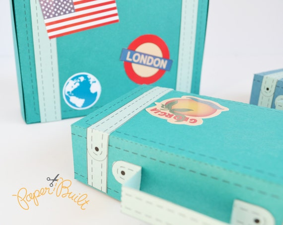 Printable Vintage Suitcase Favor Box/ Gift Box Template Kit from Paper Built