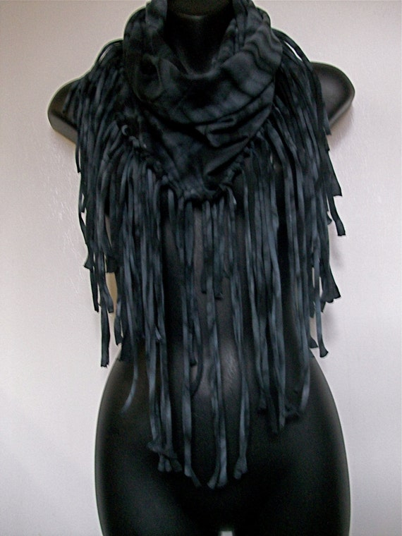 Black And Grey Infinity T Shirt Tie Dye Shredded Fringe