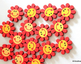 15 x Red Smiling Sunflower Wood Beads 23mm