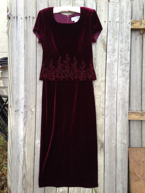 Size 8 wine velvet gown vintage 1980 s mother of the bride dress