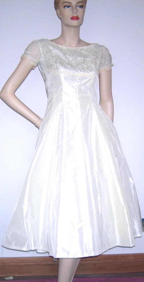 Vintage 50s 60s lorrie deb san francisco illusion lace taffeta for Vintage wedding dresses san diego