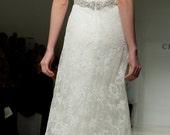 Vintage Inspired Lace Wedding Dress Bridal Gown V Neckline  CUSTOM
