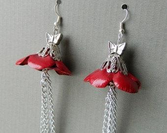 Red flower leather earrings