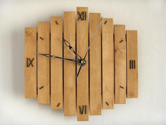Wood Wall Hanging wall clock wooden wall clock roman decor mid century clock